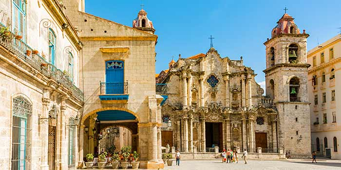 Grand cathedral of Havana is main Cuba Explorer destination